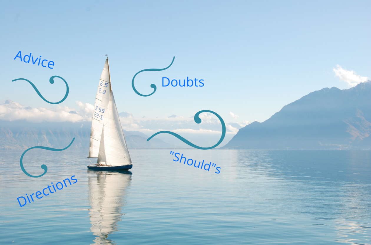 a sailboat being pushed in different directions by winds that represent advice from others